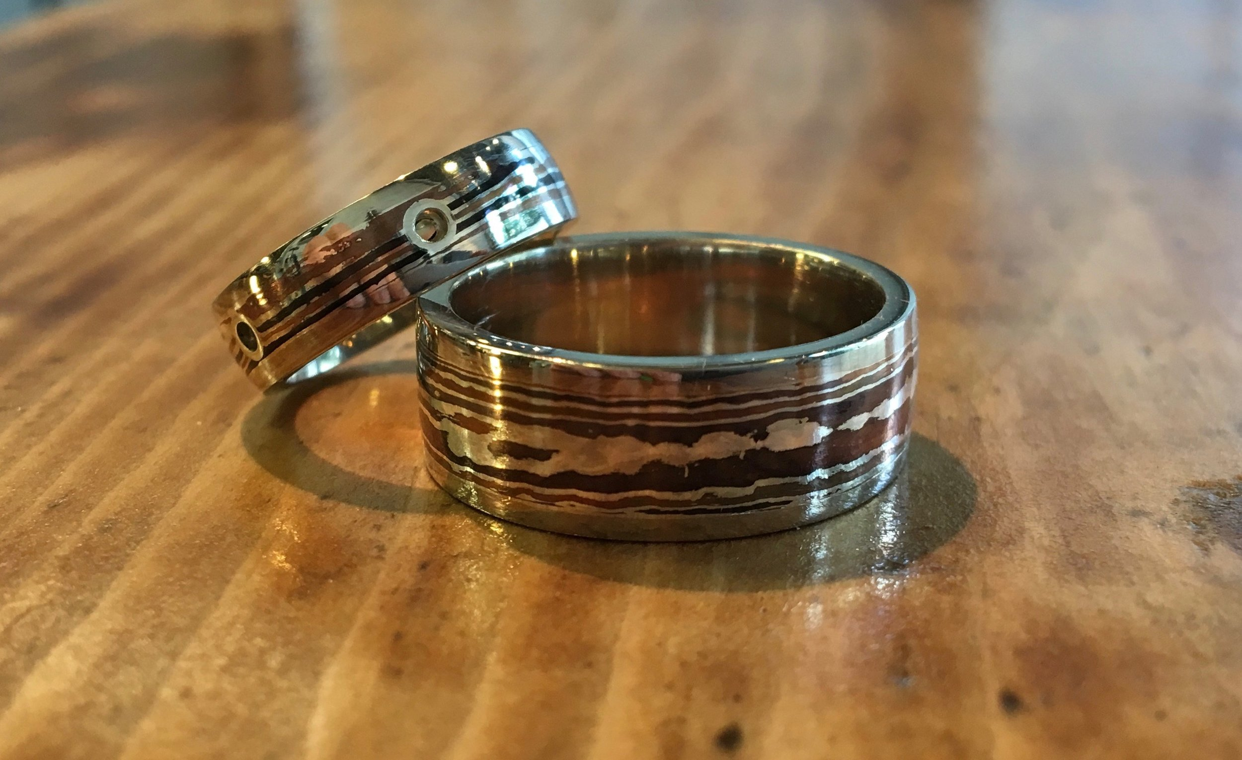 After polishing I added the chemical patina that gives these rings their distinctive look...