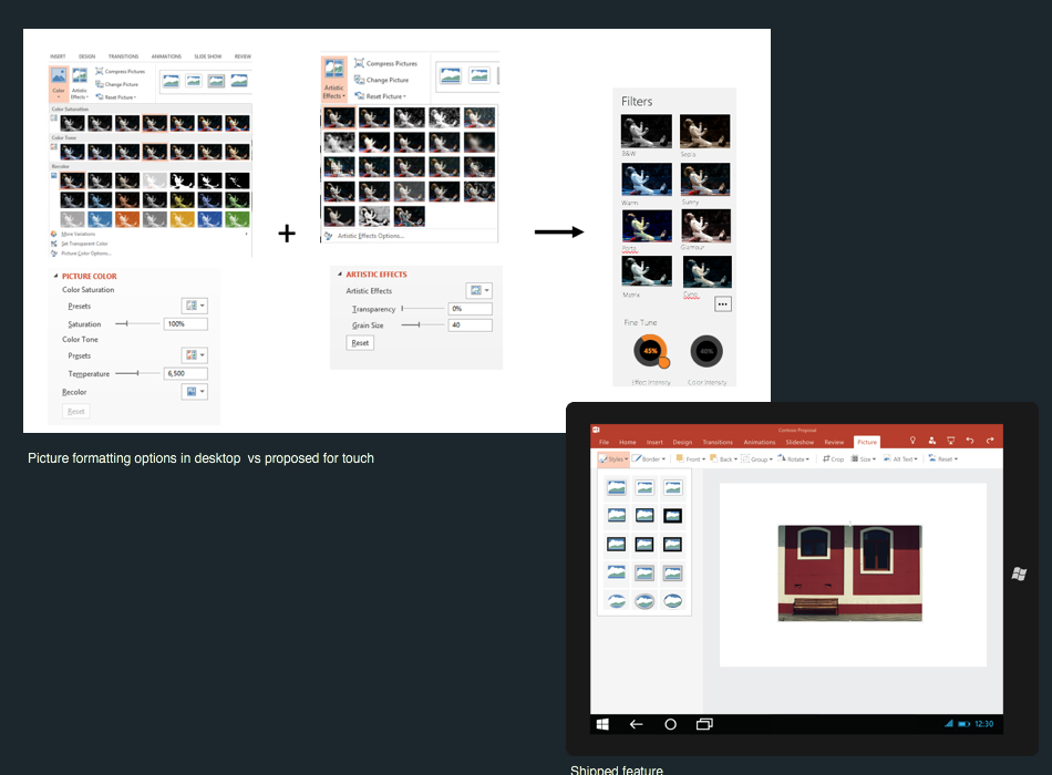 Pictures in PowerPoint Touch