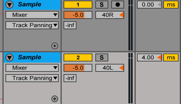 Step 4: Add just a few milliseconds of track delay to one of the duplicated tracks.