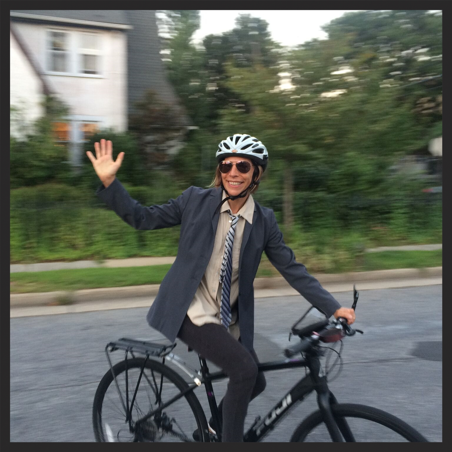 Me enjoying my now-stolen bike. Photo credit: Barry Germond.