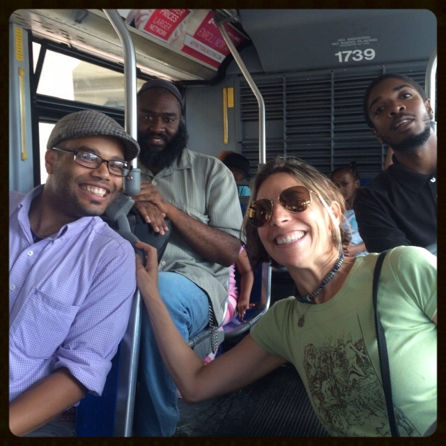 """Counter-clockwise from left: Aaron, Fredrick, John, me on a NICE bus during the first day of Long Island Bus Riders' Union's annual two-day """"rate the ride"""" bus tour through Long Island in August 2015."""