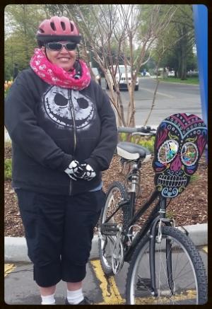 Caroline Scott and bike-buddy Bones