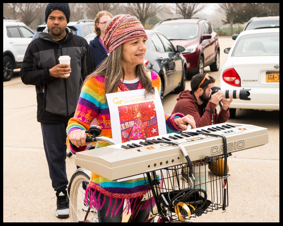 Third prize winner Kelly Schmidt with her Hippie-Chick Keyboardist bicycle float. (Photo credit, Amy Frushour Kelly)