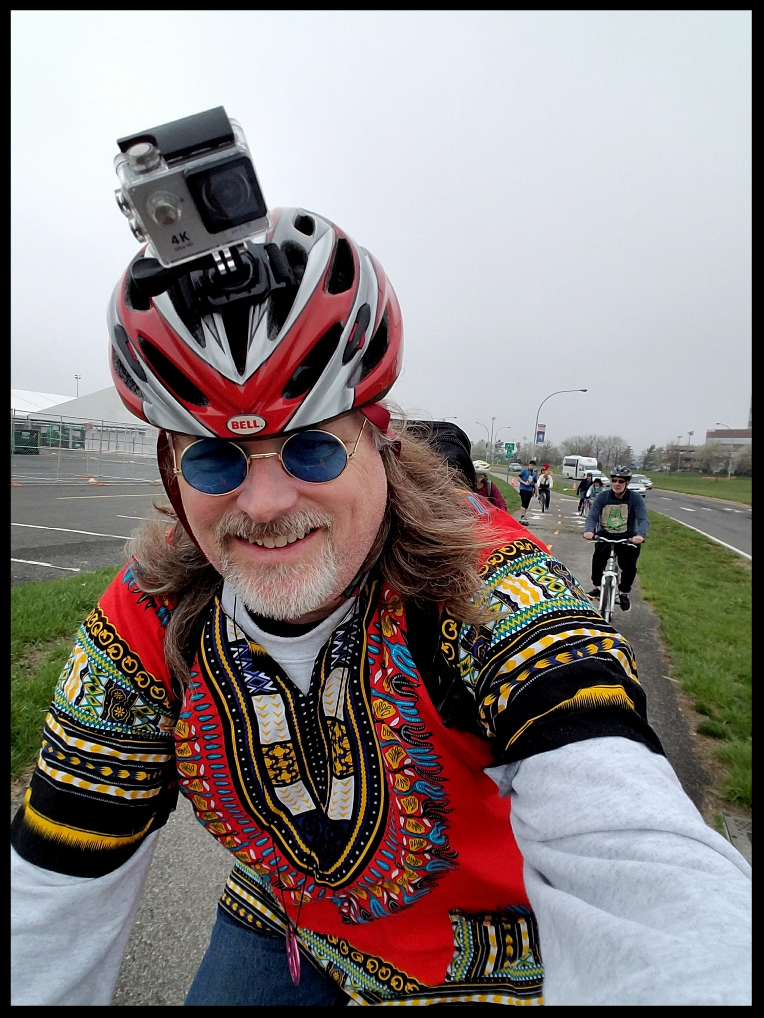"""Best bicycle parade selfie award goes to Tom Culkin .. disclaimer, also a board member (he comes to board meetings JUST LIKE THIS -- if you want to join the fun, email me and say, """"hey, I want to be on the CLLI board!"""")"""