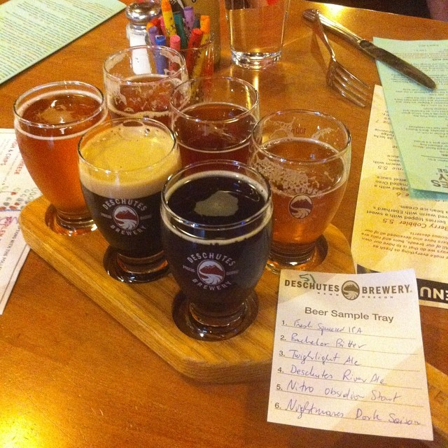 Beer tasting at Deschutes Brewery.