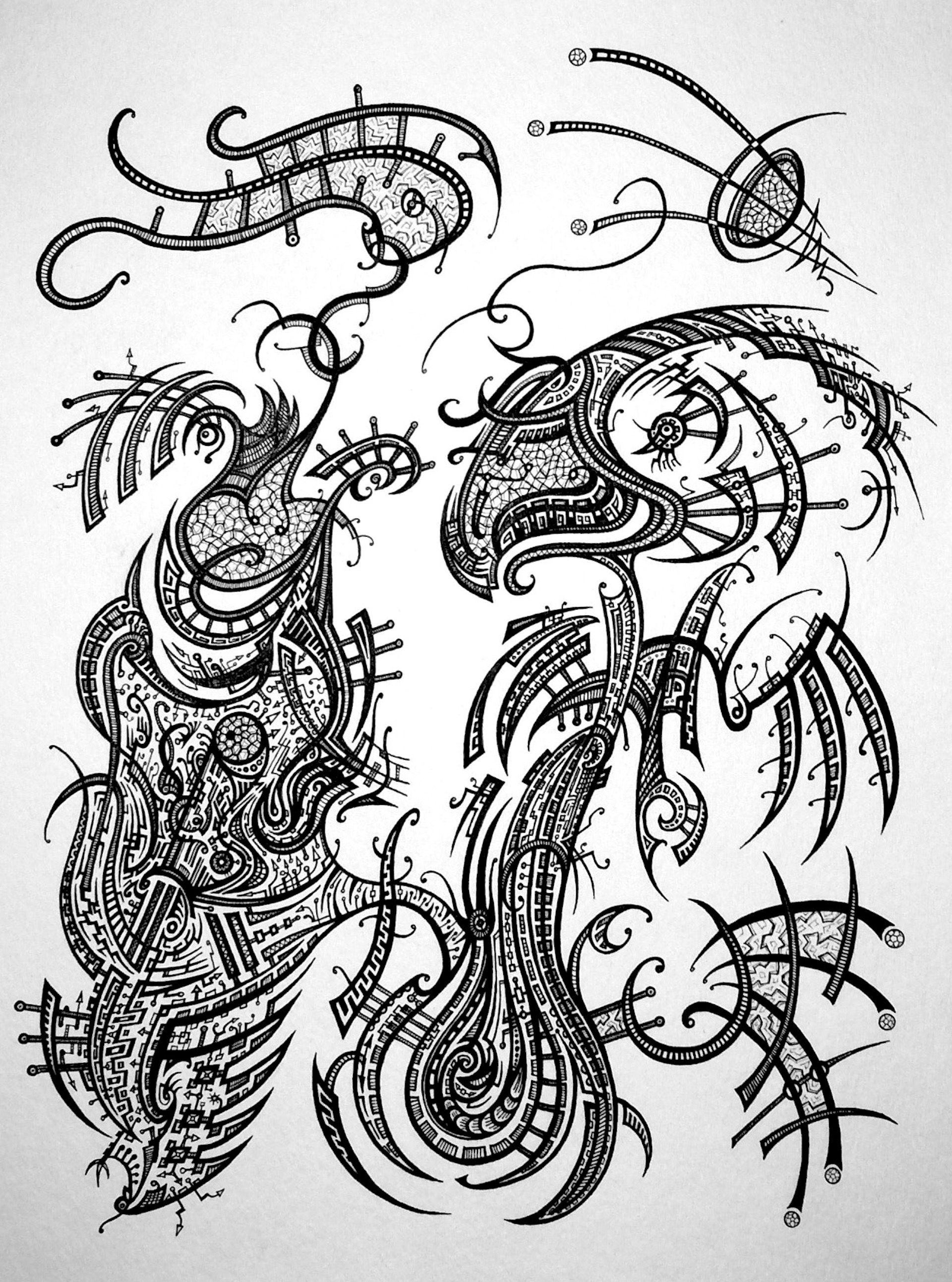 Birds of a Feather. Ink on watercolor paper, 15 x 11 inches. 2015.