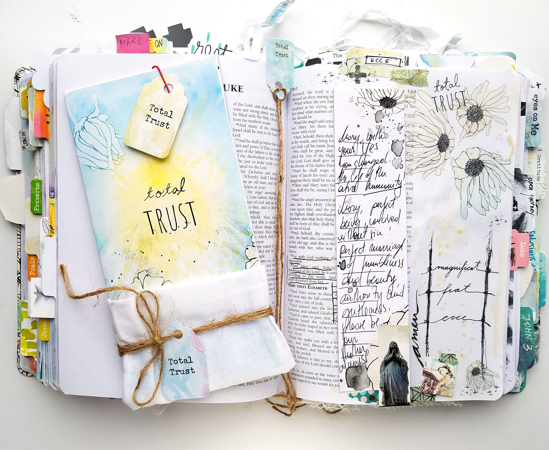 Bible Journaling Entry using the Total Trust devotional kit