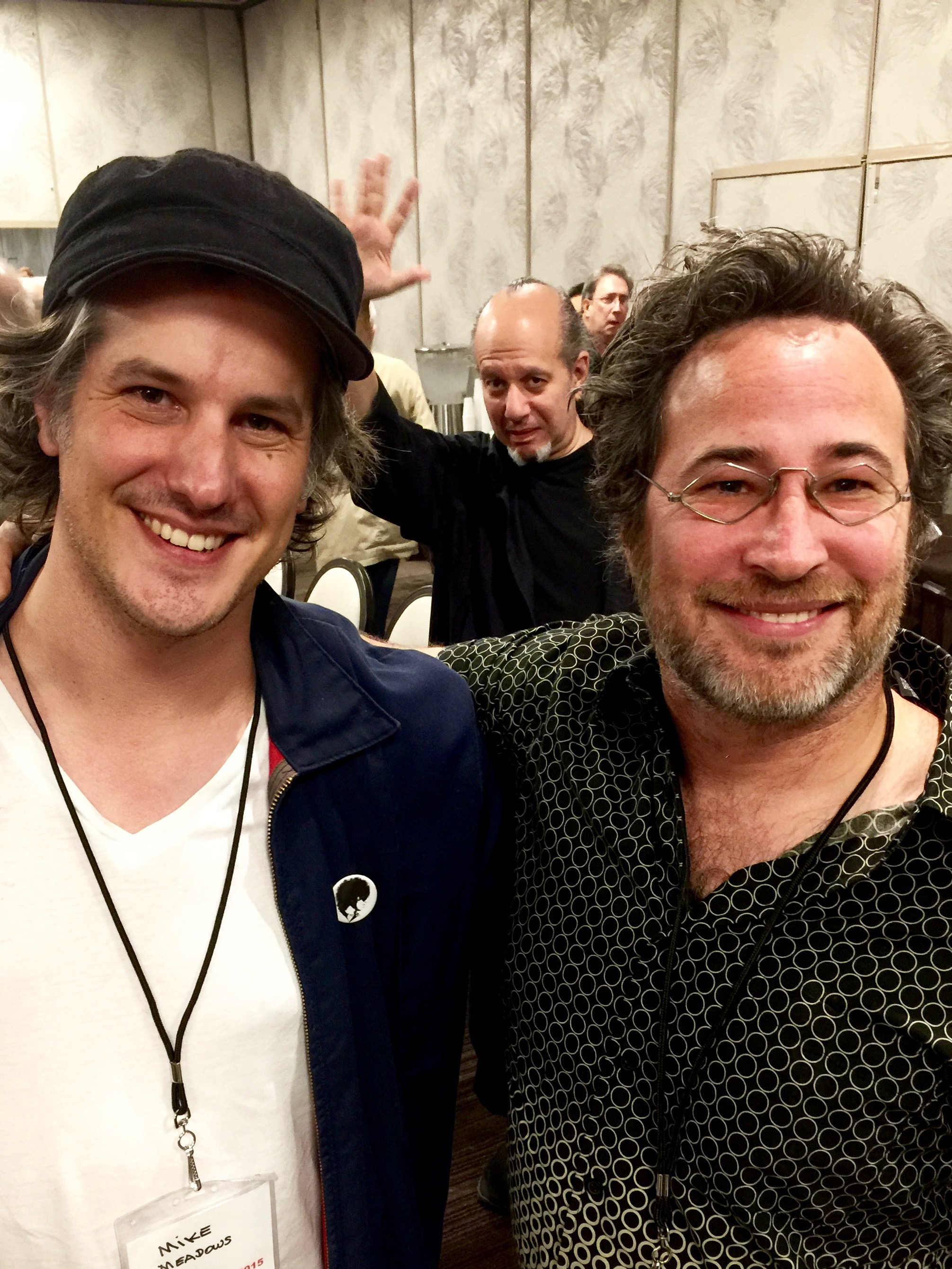 Dr. Jeremy Weiss  and grammy award-winning  Mike Meadows  photobombed by famous magician  Max Maven  at  MINDvention 2015 .