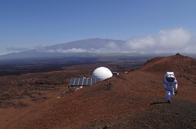 A view of the HI-SEAS habitat on the island of Hawai'i, where six crew members will spend a year in isolation. The experiment is meant to test the social and psychological effects of a real Mars mission. (Credit: HI-SEAS/University of Hawaii)