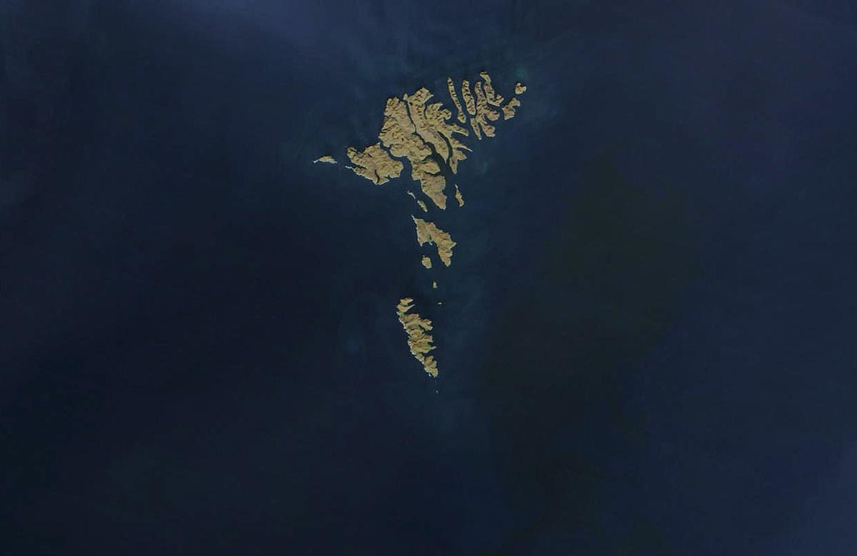 The Faroe Islands, as seen from orbit by NASA's Terra and Aqua satellites on April 17, 2003. The archipelago is about 50 mi wide, and has a total area of approximately 540 sq mi. (Image: NASA)