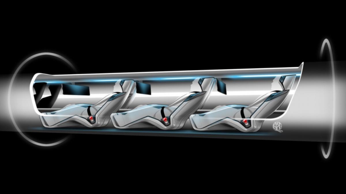 Cutaway view of a Hyperloop capsule full of passengers moving through the transport tube.(Image: Hyperloop / Tesla Motors)