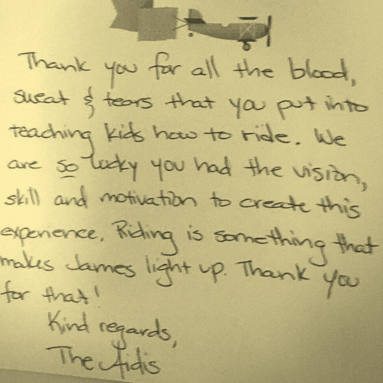 One of many Thank You notes… -
