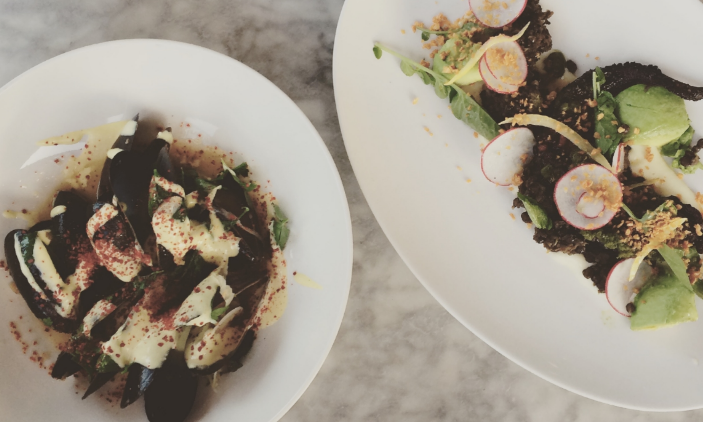 PEI Mussels and Charred Octopus at Launderette Austin