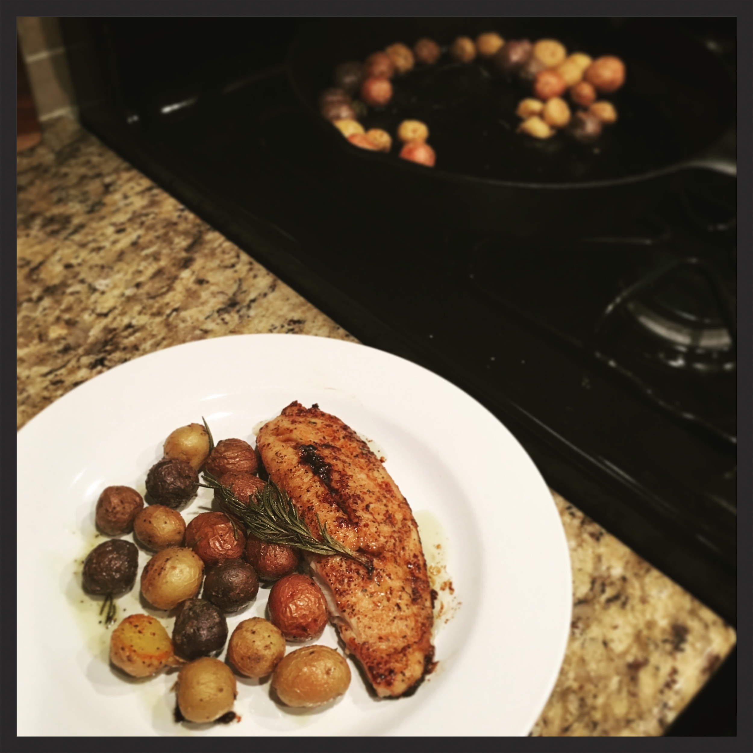 Above potatoes plated with garlic-soy baked tilapia.