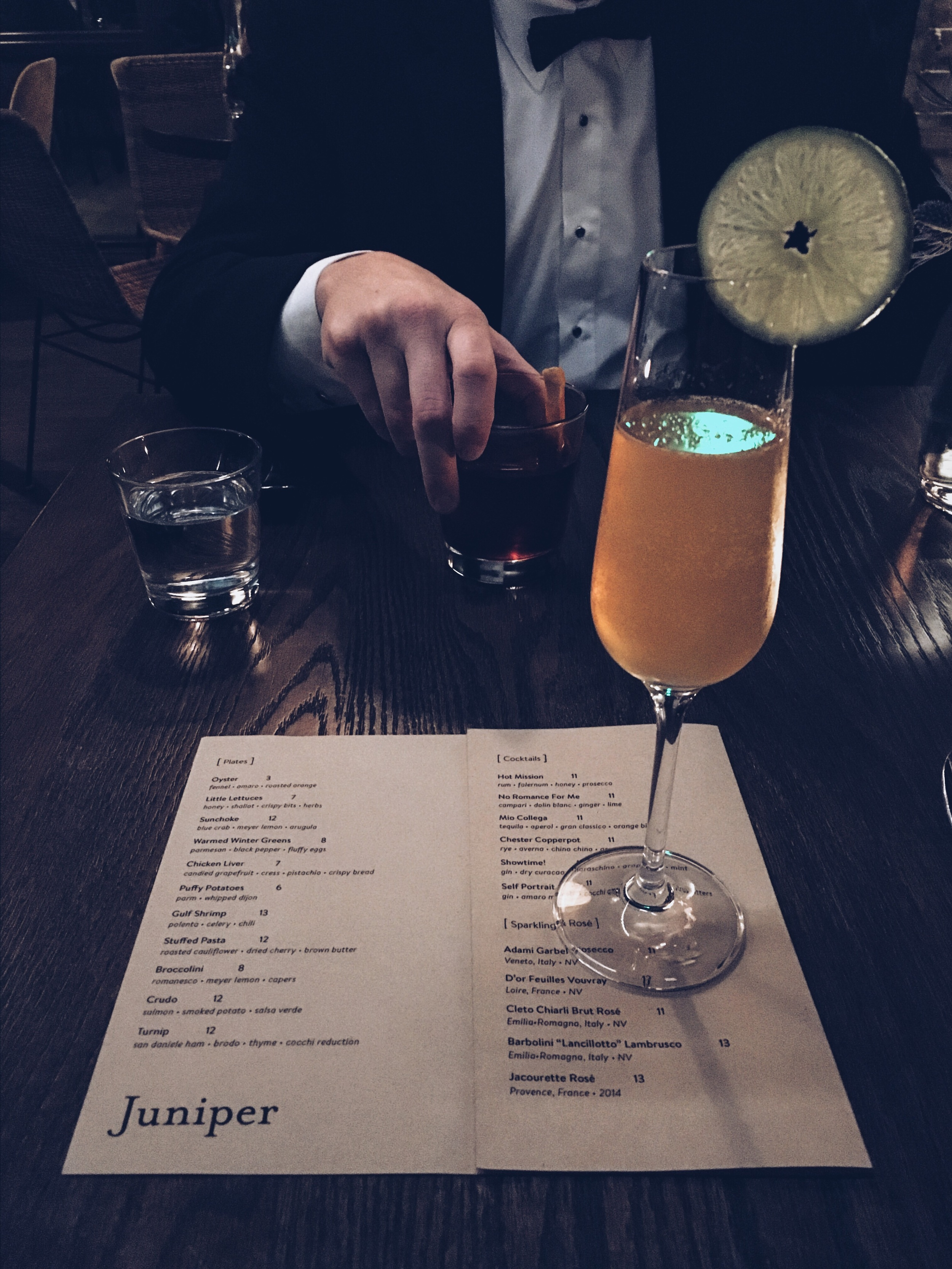 His: Chester Copperpot (rye,averna,china china liquor,aromatic bitters)   Hers: Hot Mission (rum,falernum,honey,prosecco)