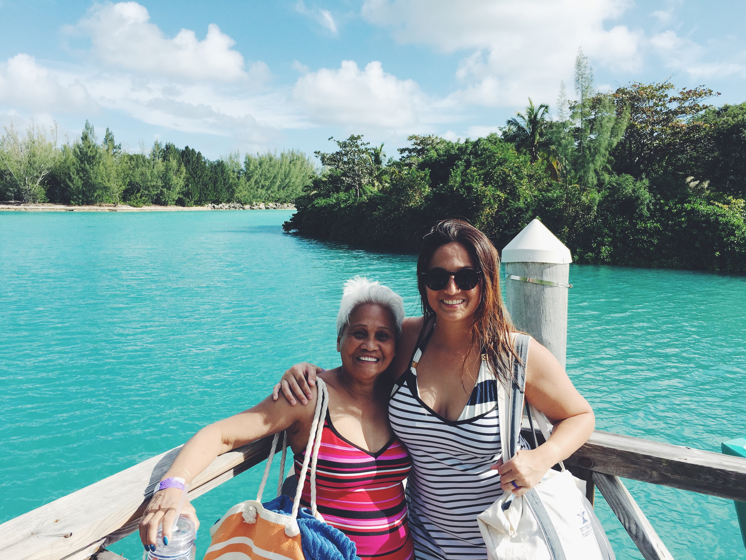 Mom & Me after our Dolphin Swim excursion in Freeport, Bahamas