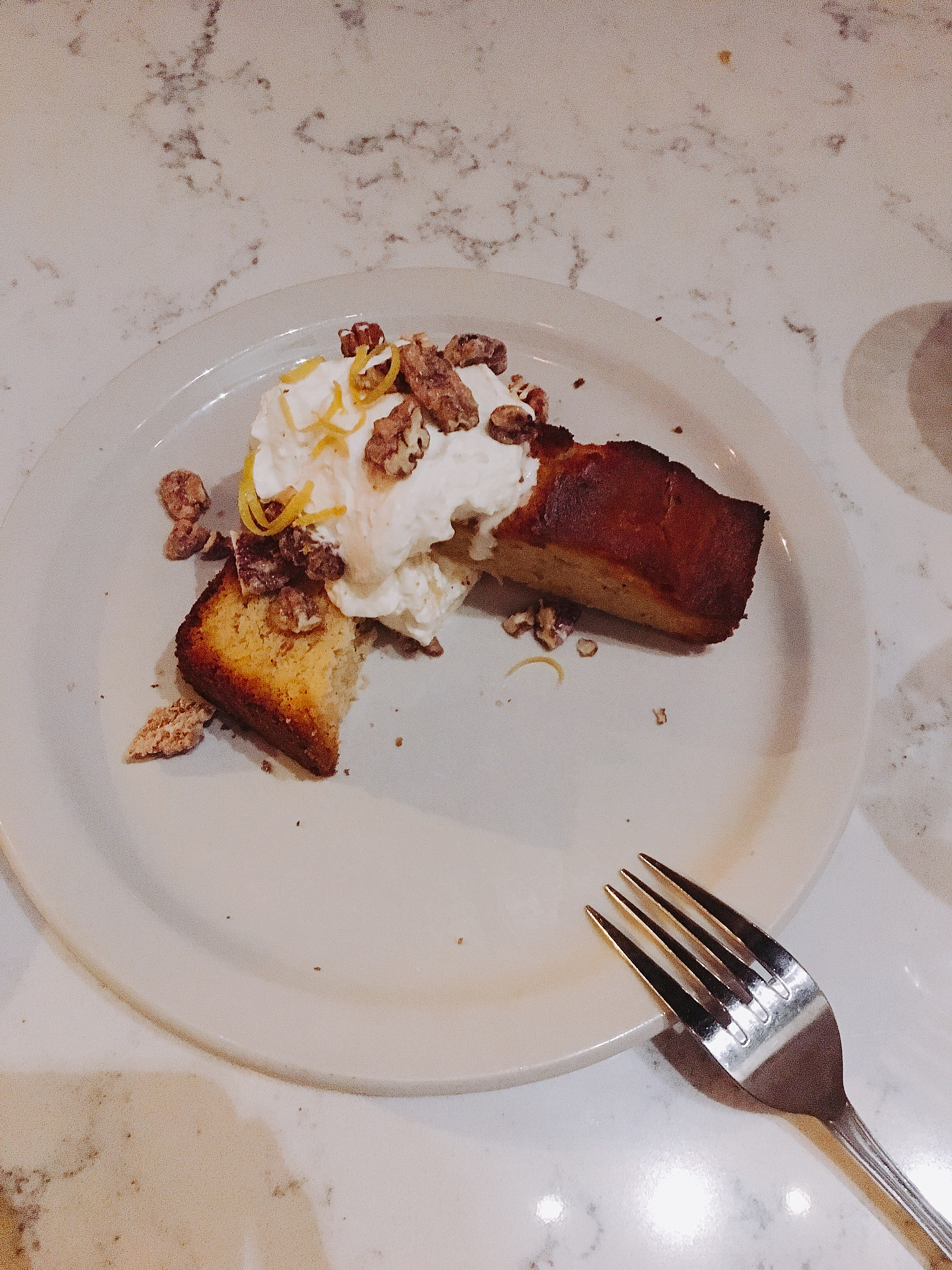 Pound Cake with whipped marscapone and candied pecans.