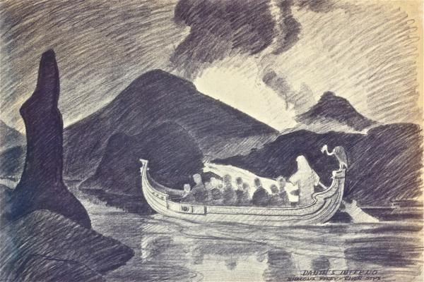 Dante's Inferno, Charon's Ferry, River Styx  by  Disney artist Bruce Bushman (IMAGE_4)