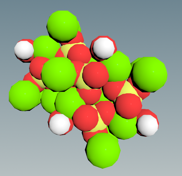 A single hydroxyapatite unit: Ca in green, PO4 in yellow/red, and OH in red/white