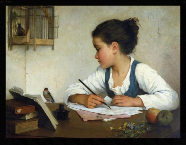 Henriette Browne, 'A Girl Writing', oil painting, 1860-1880