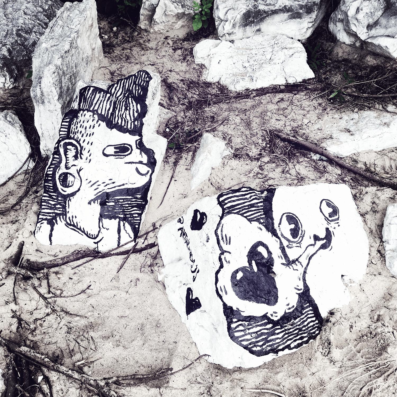 Loyola Beach Cement Slab Paintings