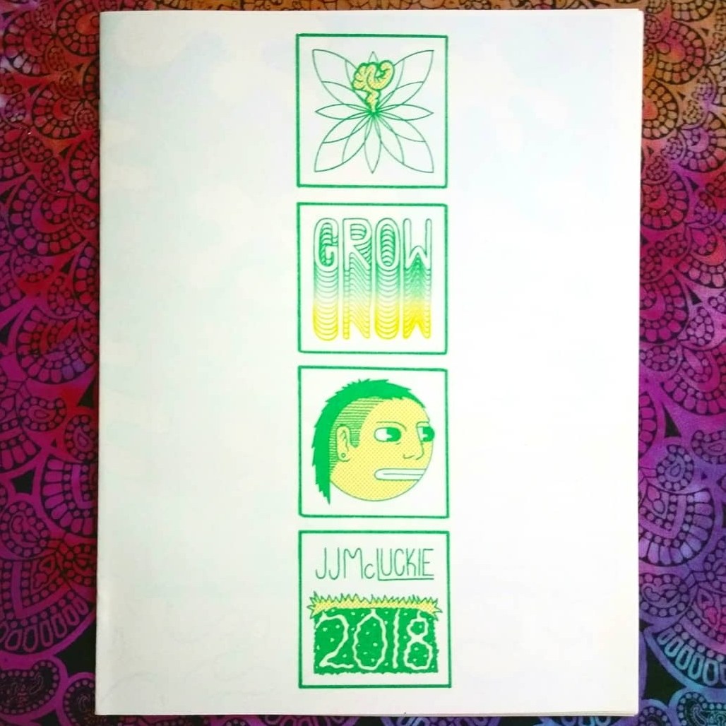 GROW   16 Pages Saddle Stitched  Green and Yellow Risograph  May 2018  Plant-oriented diagrams/comics with each successive page growing by 4 panels.  Comics made from life drawings, icons, and surreal forms formatted into a pictograph of elementX X elementY (such as state of matter X altitude, light source X location, and time X plant growth). Each page can be read in any direction and thus functions more as a series of puzzles more than a strict narrative.