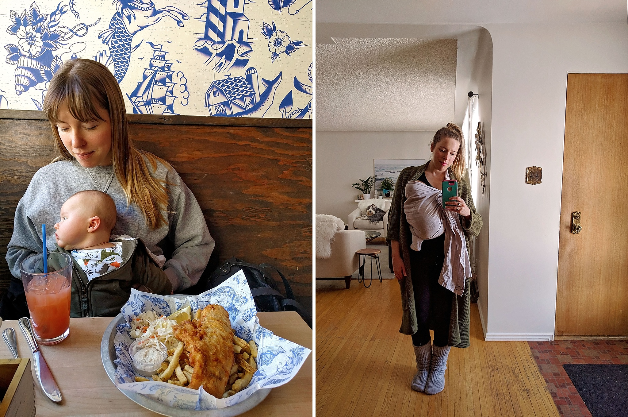Left: taking babies out and about helps acclimatize them to activity and different environments. Felix was totally chill while I ate these fish and chips. Right, wearing my beloved ring sling!