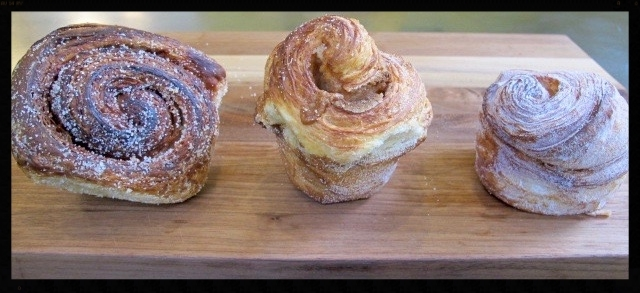 Left to right: Morning buns from Tartine Bakery & Cafe (San Francisco), La Farine (Oakland), and Fournée (Berkeley)