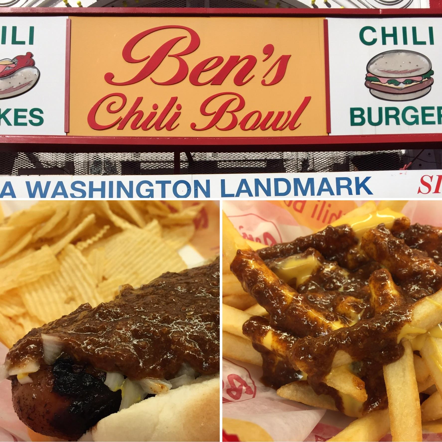 Half Smoke Chili Dog and Chili Cheese Fries at Ben's Chili Bowl
