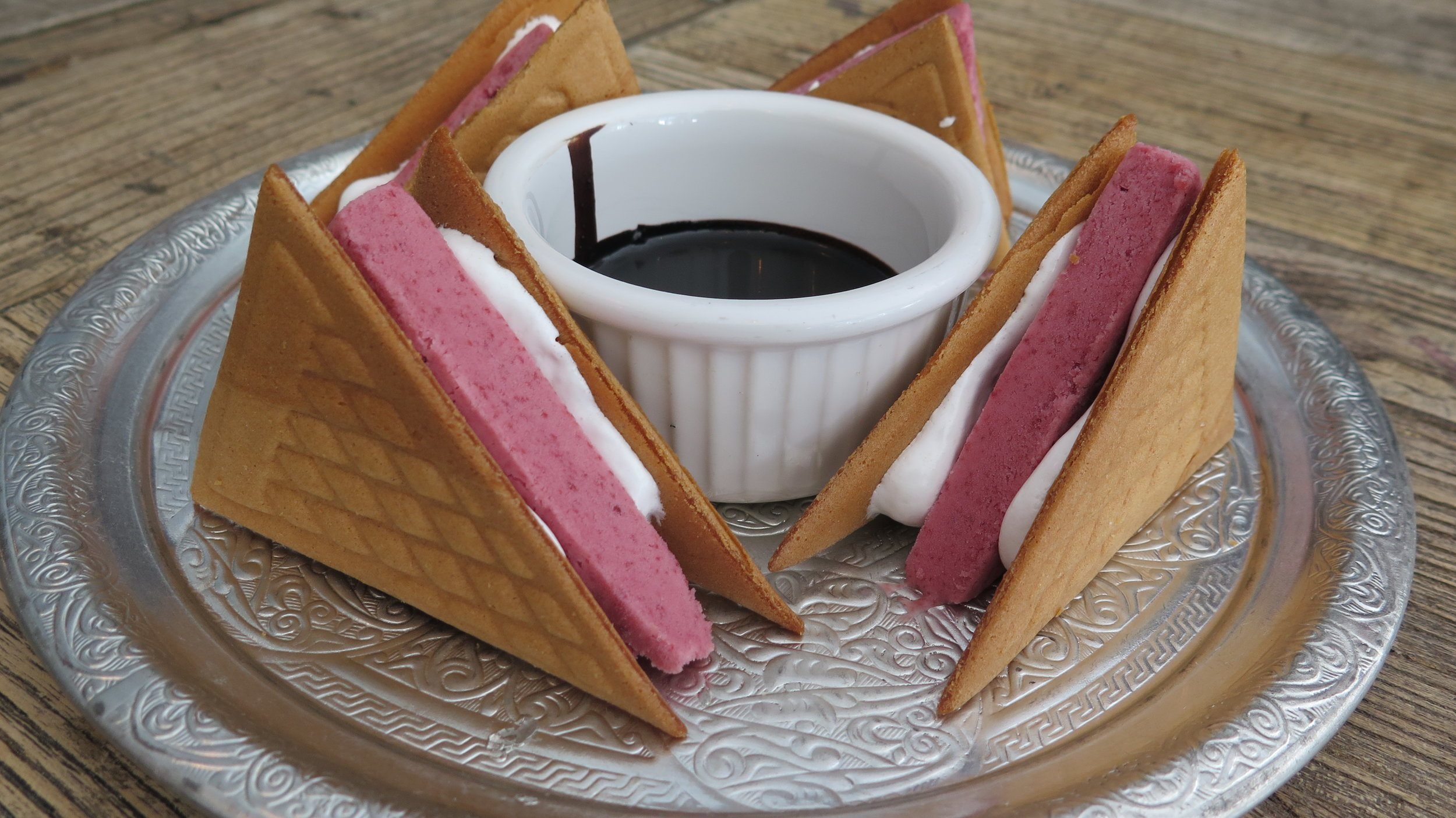 Turkish Ice Cream Sandwiches with Urfa Chocolate Sauce