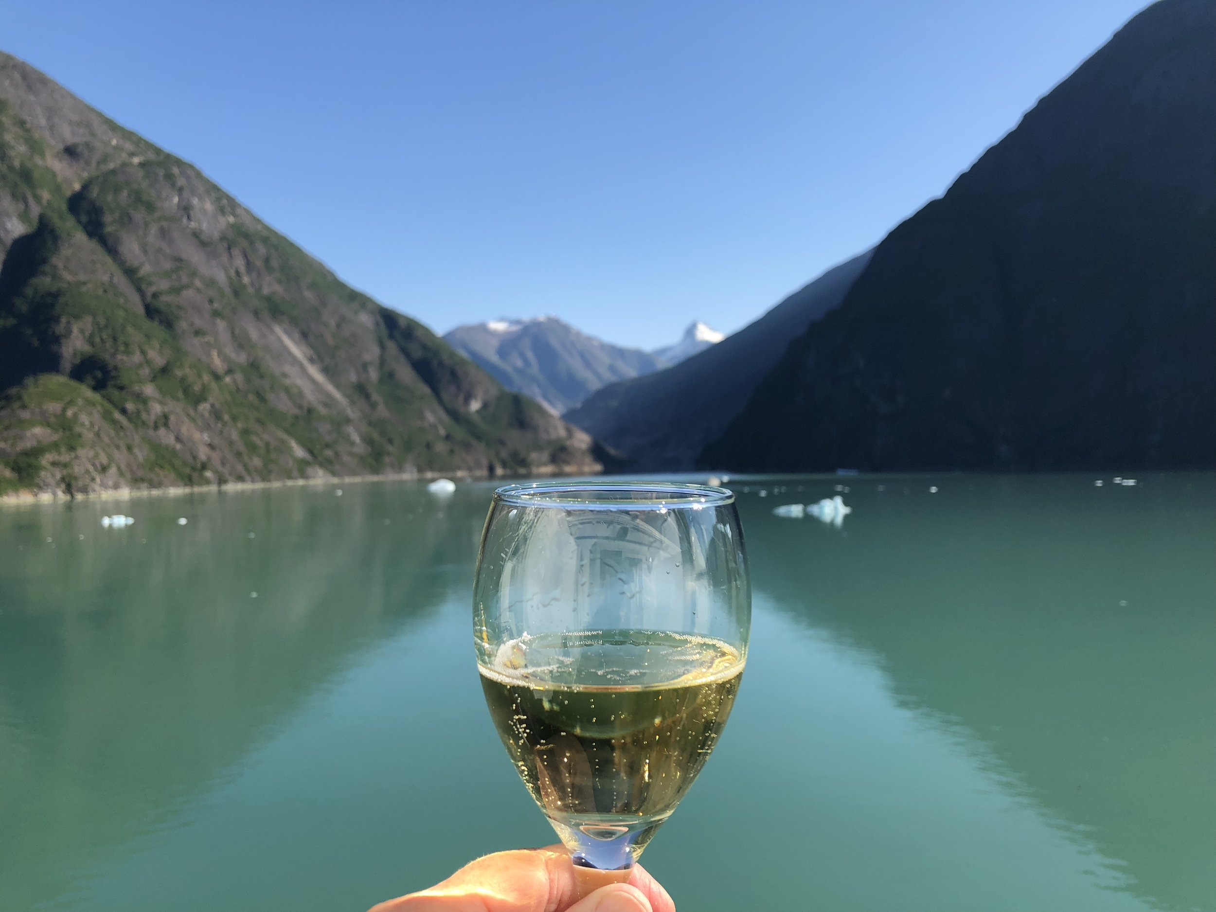 Toasting the Tracy Arm Fjord in Alaska with a 2009 J. Schram Schramsberg sparkling wine