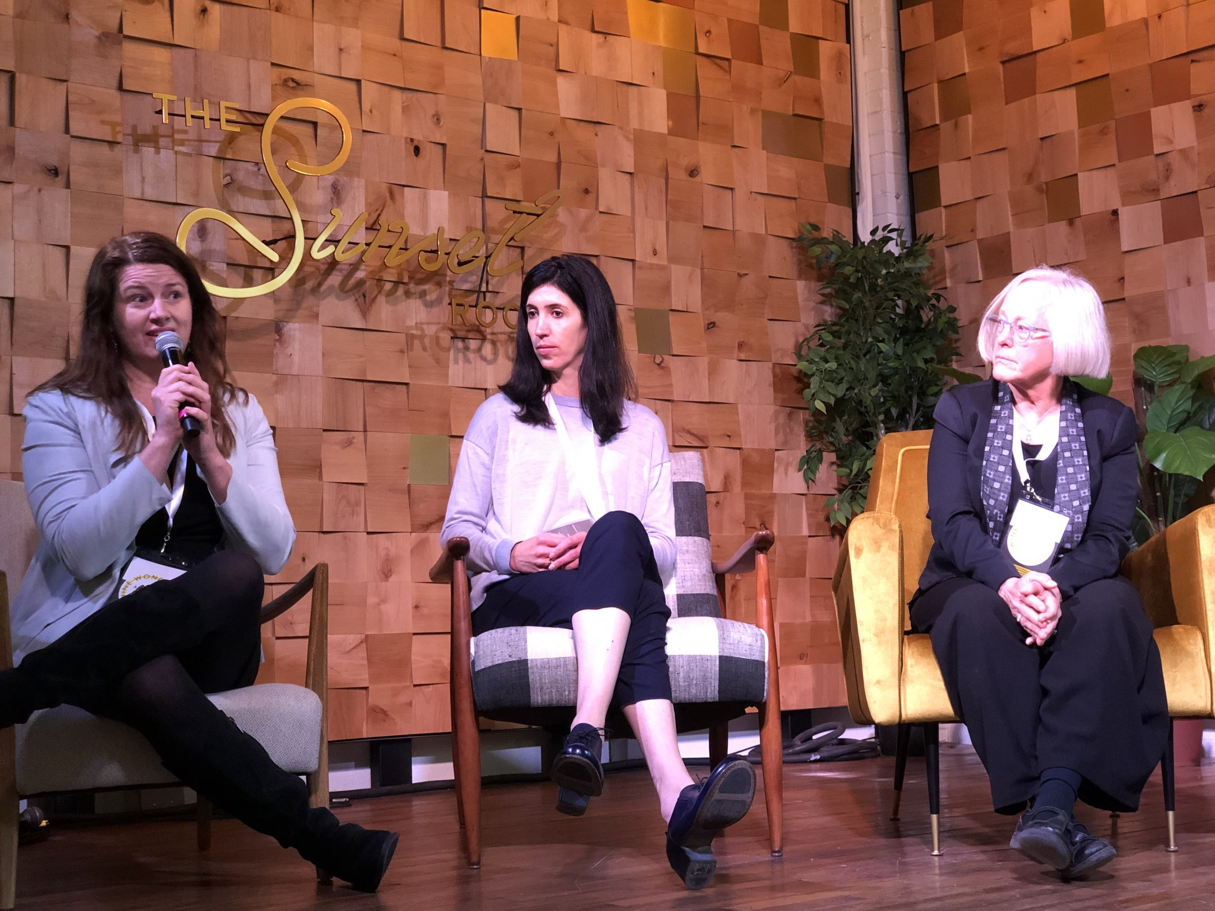Panelists Amy Bess Cook (WOW), Samantha Sheehan (Poe, etc.) & Cathy Corison (Corison Winery) - WWOW March 2, 2019