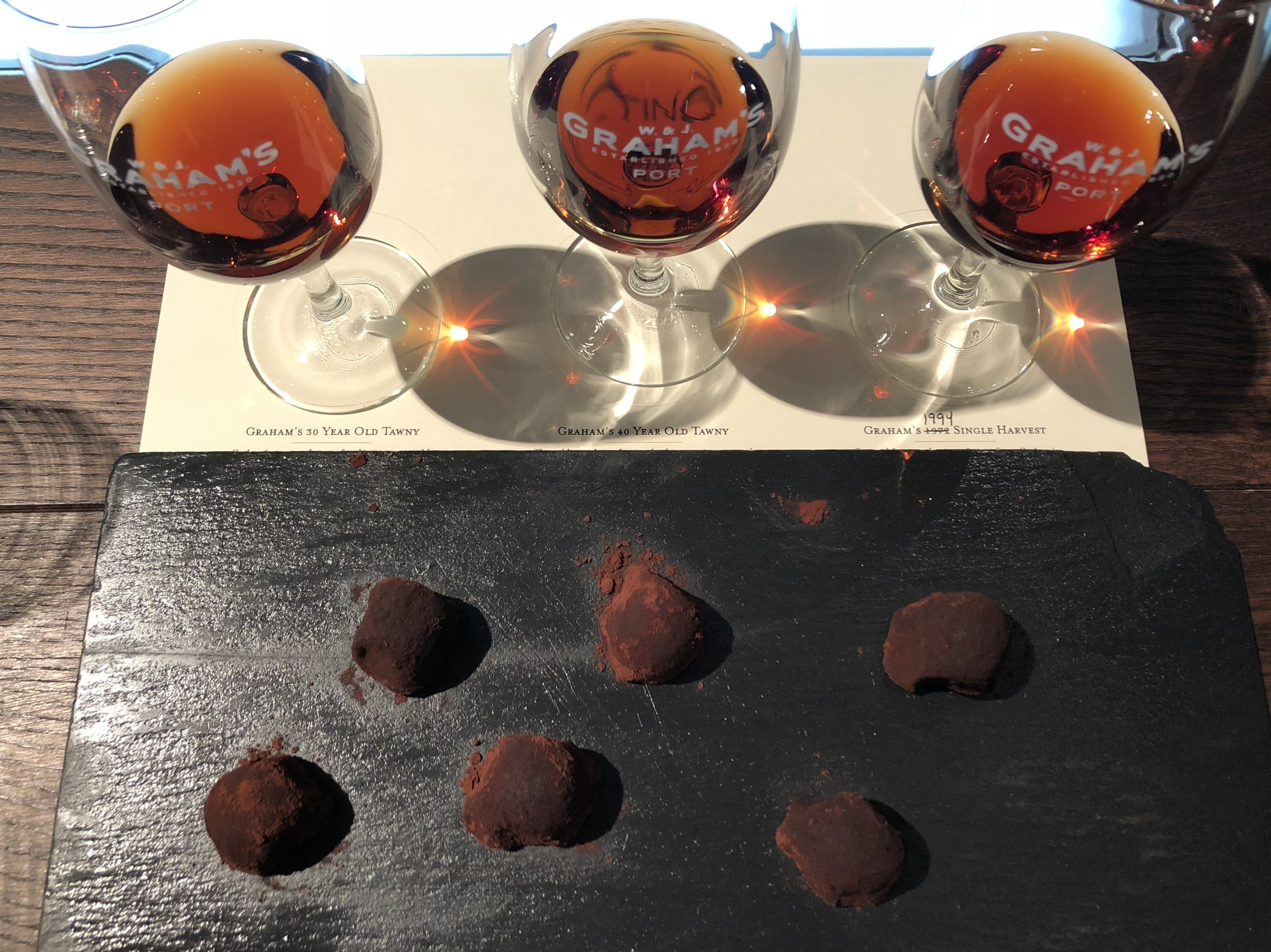 "Julie's ""100 Year"" Port Tasting at Graham's Port Lodge in Porto in September 2018 with chocolate truffles"
