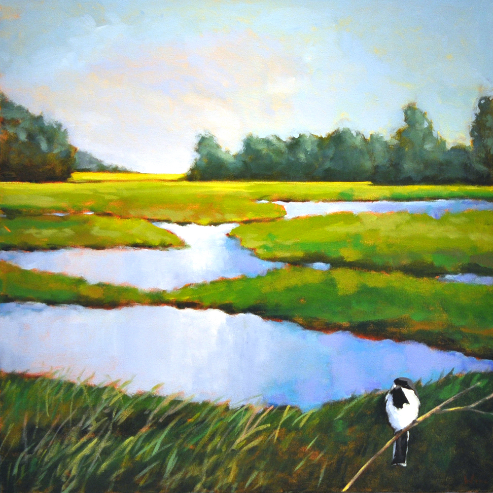 Chickadee on the Marsh,  2015 Acrylic on canvas 24 x 24 inches