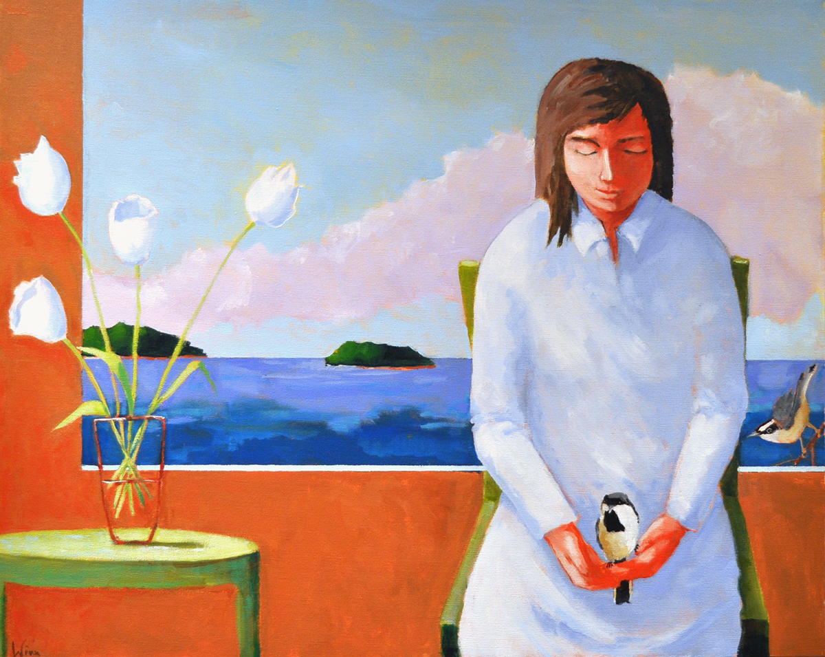 Visiting,  2015 Acrylic on canvas 24 x 30 inches