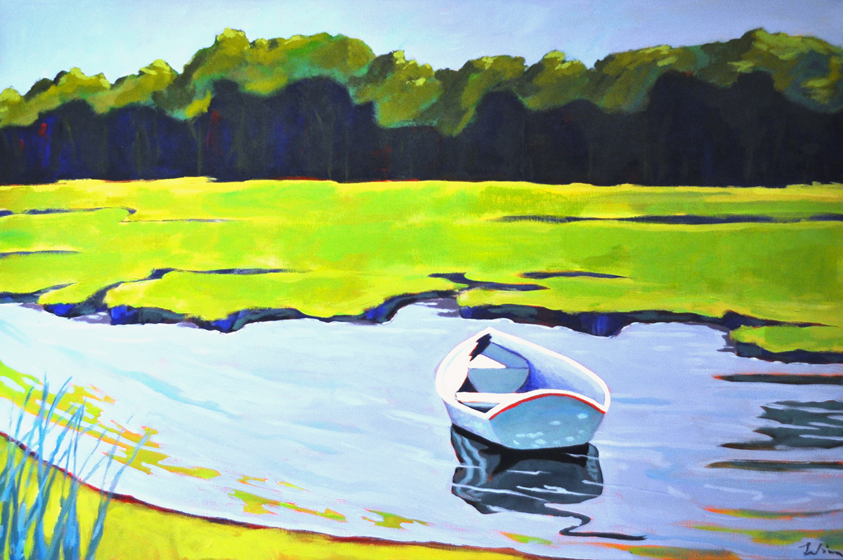 Adrift on the Marsh,  2015 Acrylic on canvas 24 x 36 inches