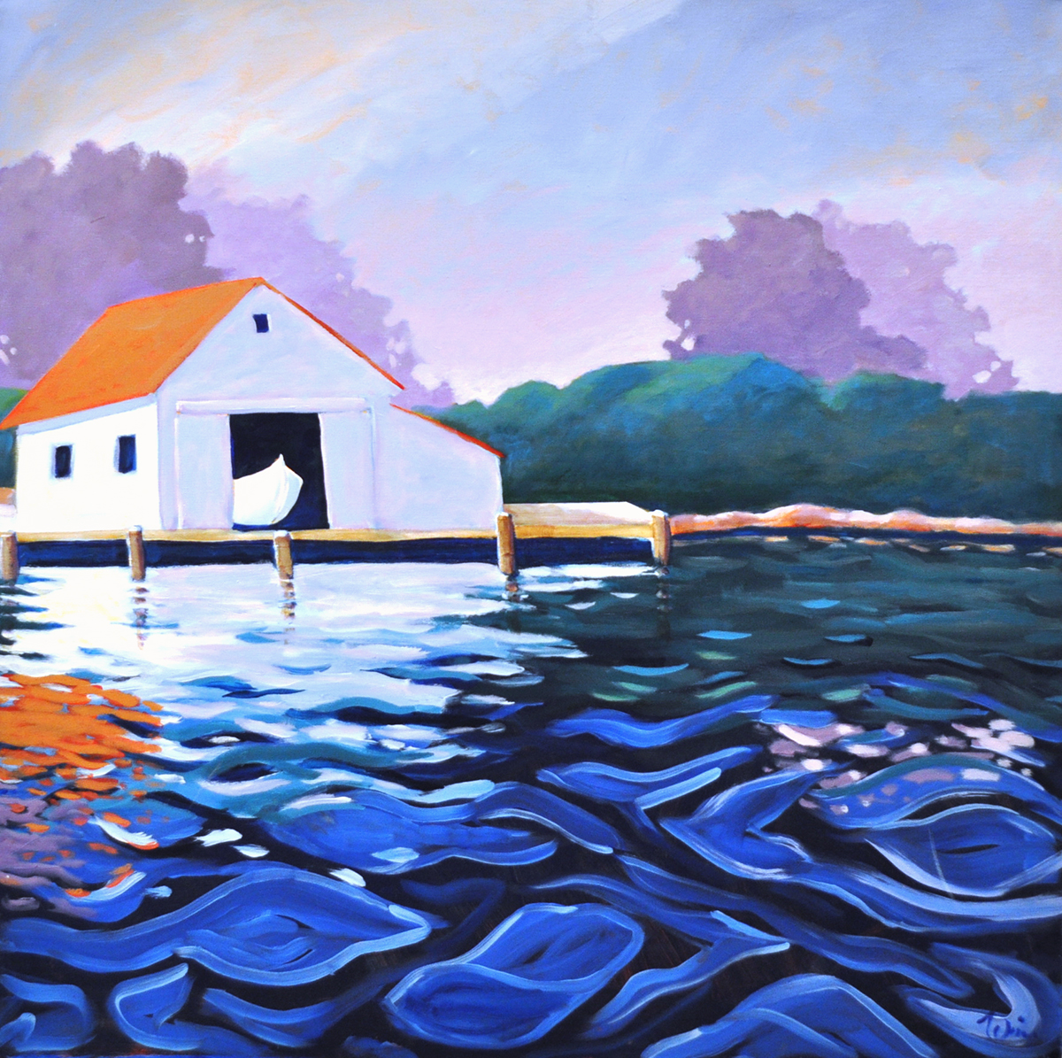 Maine Boat House,  2015 Acrylic on canvas 36 x 36 inches