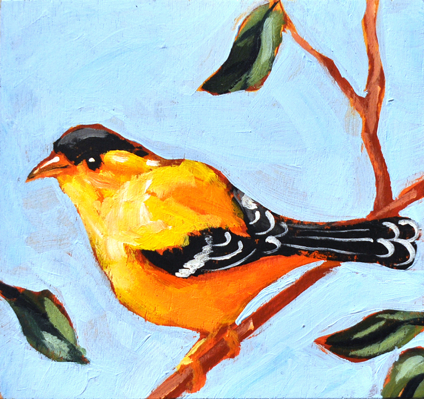 Gold Finch Waiting , 2015 Acrylic on canvas 4.5 x 4.5 inches