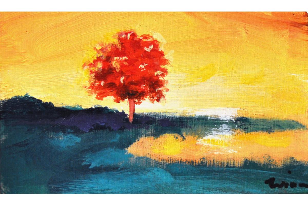 Sunrise, 2015 Acrylic on canvas 2 x 4 inches