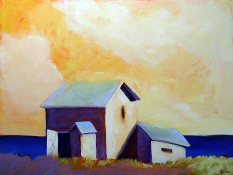 Barns By The Sea,  2007 Acrylic on canvas 18 x 24 inches