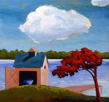 Boathouse on the Lake,  2008 Acrylic on wooden box 24 x 24 inches
