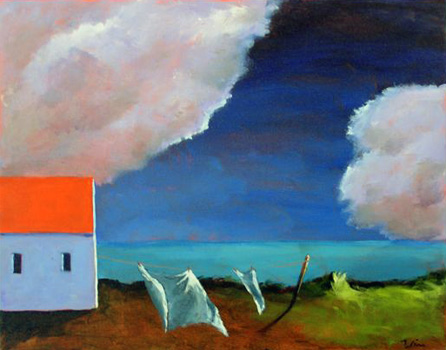Bring In The Laundry,  2007  Acrylic on canvas 18 x 24 inches