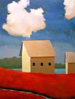 Cabins on the River,  2008 Acrylic on canvas 24 x 18 inces