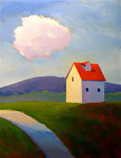 Evening Light on the Farm,  2008 Acrylic on canvas 28 x 22 inches