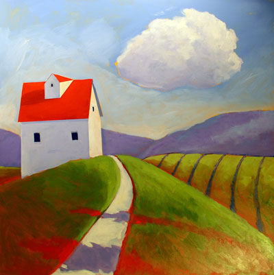 Farm in the Berkshires,  2008 Acrylic on canvas 36 x 36 inches