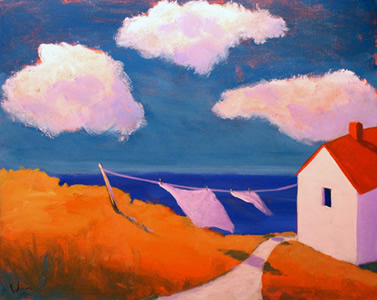 Laundry Time,  2007 Acrylic on canvas 16 x 20 inches