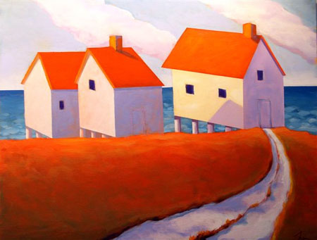 Lobster Houses,  2008 Acrylic on canvas 22 x 28 inches