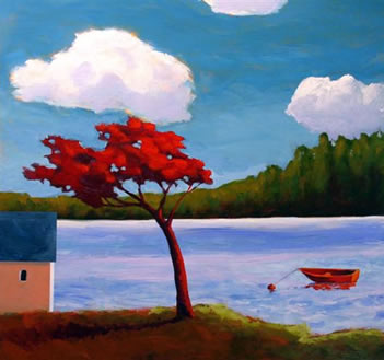 Red Dinghy on the Lake,  2008 Acrylic on wooden box 24 x 24 inches