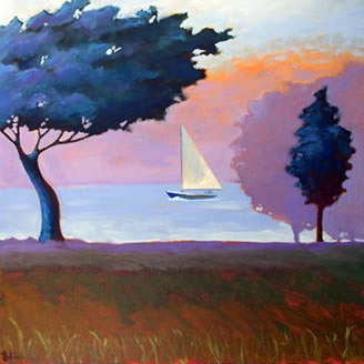 Sailing Through the Maine Morning Fog,  2008 Acrylic on canvas 24 x 24 inches