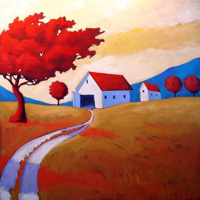Wind on the Farm,  2008 Acrylic on canvas 36 x 36 inches